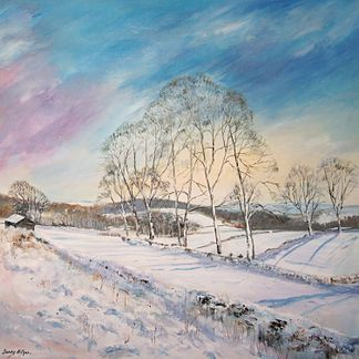 Snow at Crich Acrylic (40 x 92 cm)